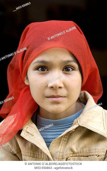 Portrait of Uigur girl. Kashgar city. Xinjiang province. China. Asia
