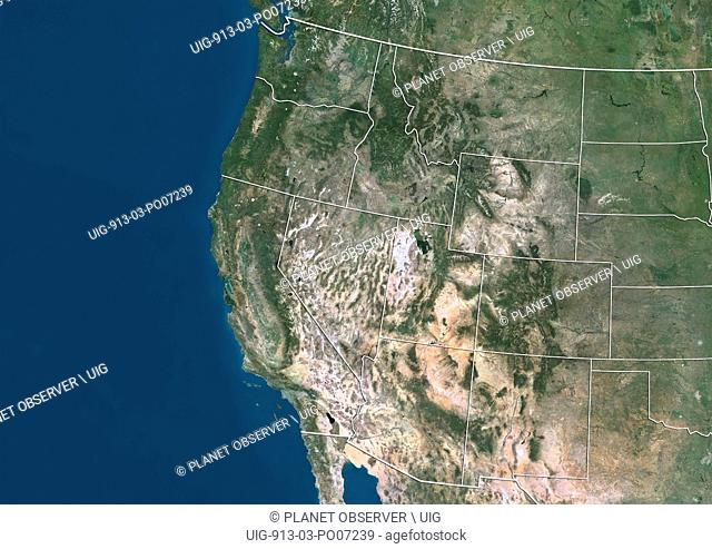 Satellite view of Western United States (with administrative boundaries). This image was compiled from data acquired by Landsat satellites