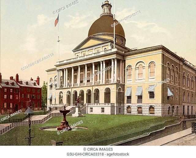 State House, Boston, Massachusetts, USA, Photochrome Print, Detroit Publishing Company, 1900