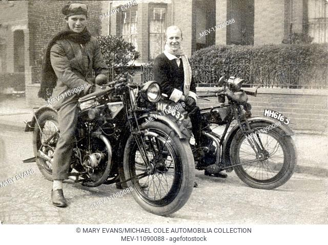 Two gentlemen on early 1920s vintage Rudge 500 cc motorcycles