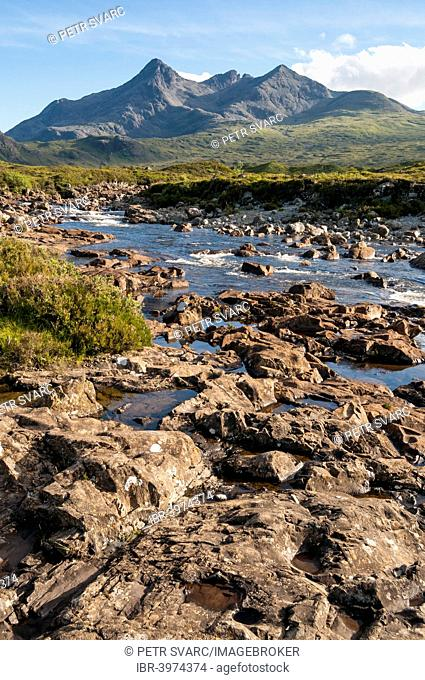 Landscape with River Sligachan and Sgurr nan Gillean Mountain of Cuillin Range, Isle of Skye, Scotland, United Kingdom