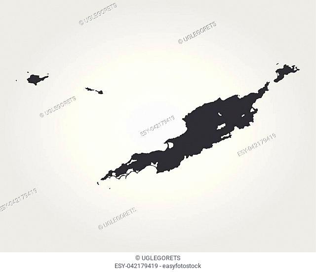 Map of Anguilla. Vector illustration. World map