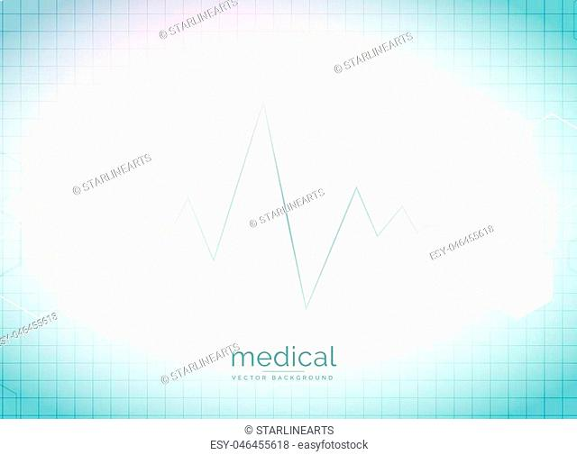 abstract medical and healthcare background with heart beat and hexagonal shape molecules