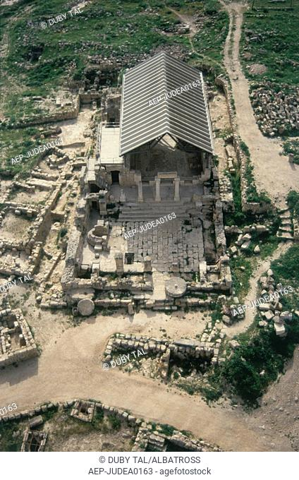 Aerial photograph of the archeologic site of Susiya dated to the Byzantine period