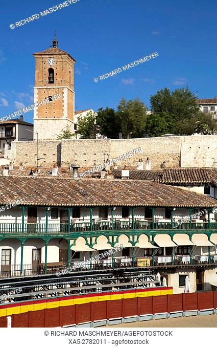 Plaza Mayor with Converted Bullring, Balconies, Clock Tower (background), Chinchon, Spain