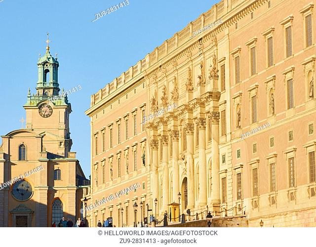 Royal Palace (Kungliga Slottet) and Storkyrkan, Gamla Stan, Stockholm, Sweden, Scandinavia