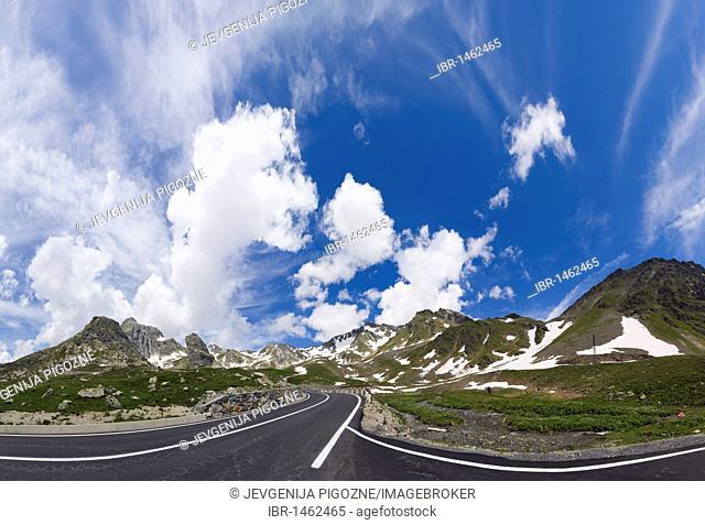 View of Pennine Alps, Valais Alps from Great St Bernard Pass, Col du Grand-Saint-Bernard, Colle del Gran San Bernardo, Western Alps, Italy, Europe