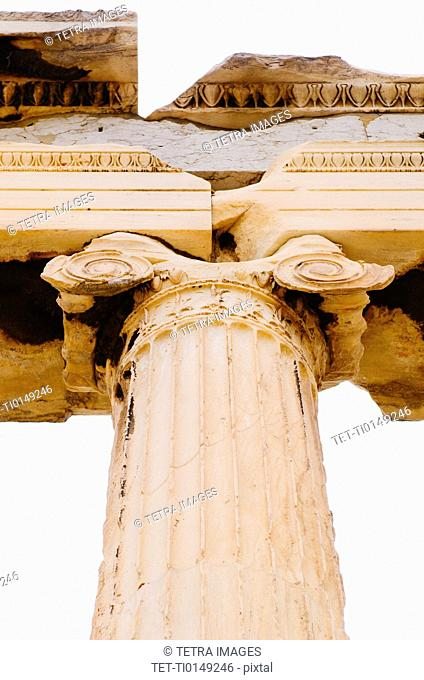 Greece, Athens, Acropolis, Ionic column of Erechtheum