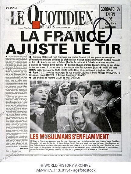 Headline in 'Le Quotidien' a French newspaper, 21st January 1991, concerning the loss of French pilots in the Gulf War (2 August 1990 - 28 February 1991)