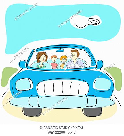 Family traveling in a car