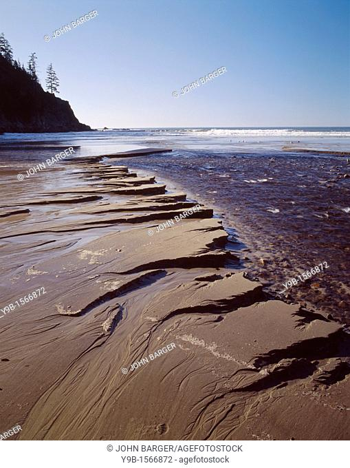 Short Sand Creek has eroden ripple patterns in beach sand as it runs towards the Pacific Ocean, Oswald West State Park, northern coast, Oregon, USA