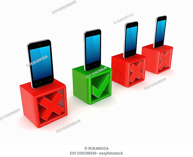 Choice concept.Isolated on white background.3d rendered illustration