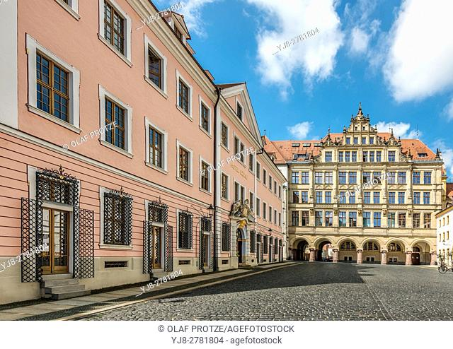 Town Hall and Hotel Boerse at the Untermarkt of Goerlitz, Saxony, Germany