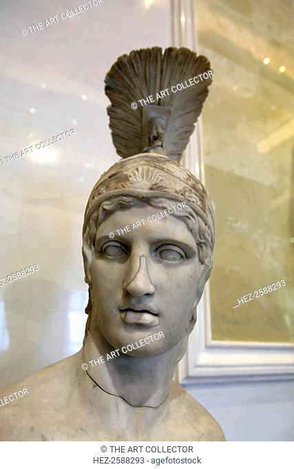 Head of Ares, God of War, early 2nd century. After the Greek original of the 420s BC, by Alkamenes. The equivalent of Ares in the Roman pantheon was Mars