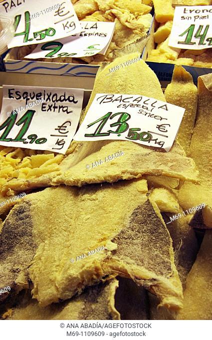 Sale of salt cod in Sant Josep Market, La Boqueria, Barcelona