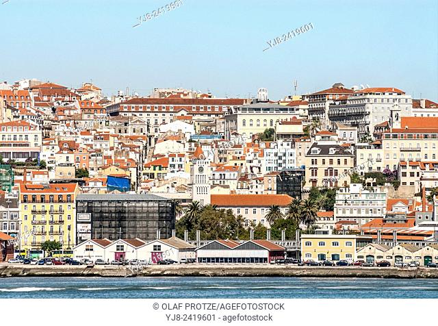 Old city center of Lisbon seen from the seaside, Portugal
