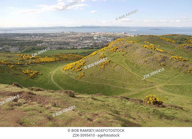 Volacanic landscape in Holyrood park near the city of Edinburg, Scotland