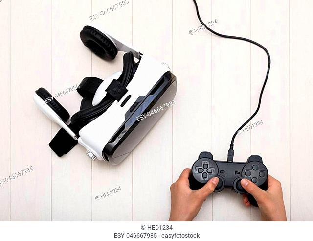VR goggles and game controllers