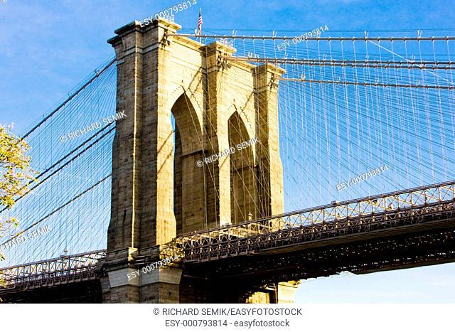 detail of Brooklyn Bridge, Manhattan, New York City, USA