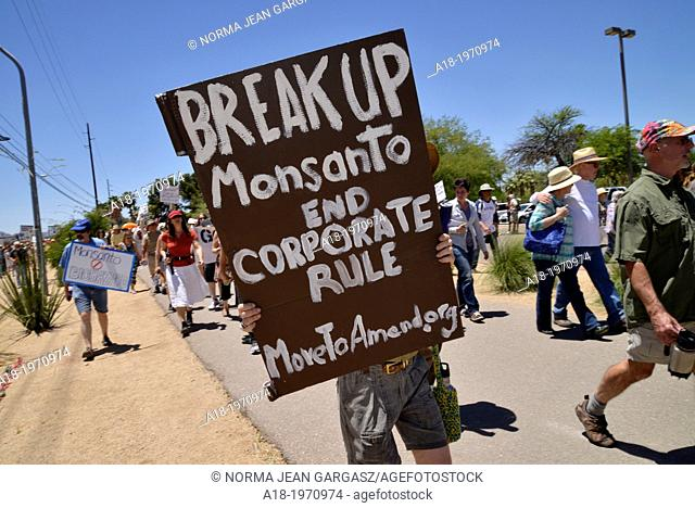 About 1, 000 protesters participated in a march organized by Monsanto Free Tucson against GMO, or genetically modified organism, on May 25, 2013, in Reid Park