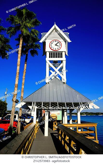 Bridge Street Pier Clock at Bradenton Beach on Anna Maria Island FL