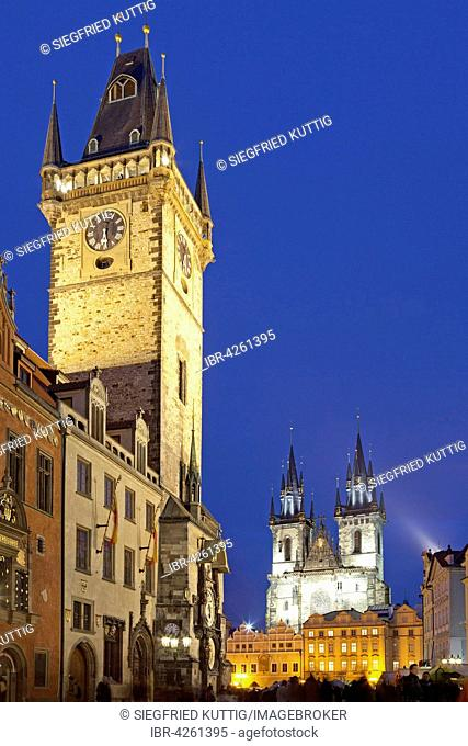 Old Town Hall and Tyn Church, evening light, Old Town Square, Prague, Czech Republic