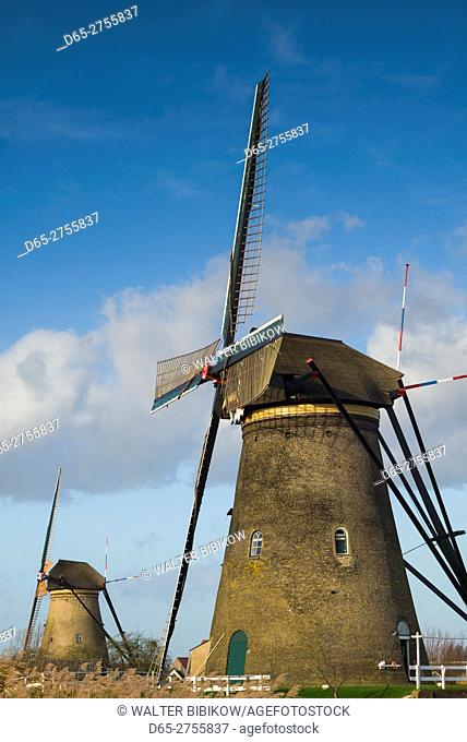 Netherlands, Kinderdijk, Traditional Dutch windmills