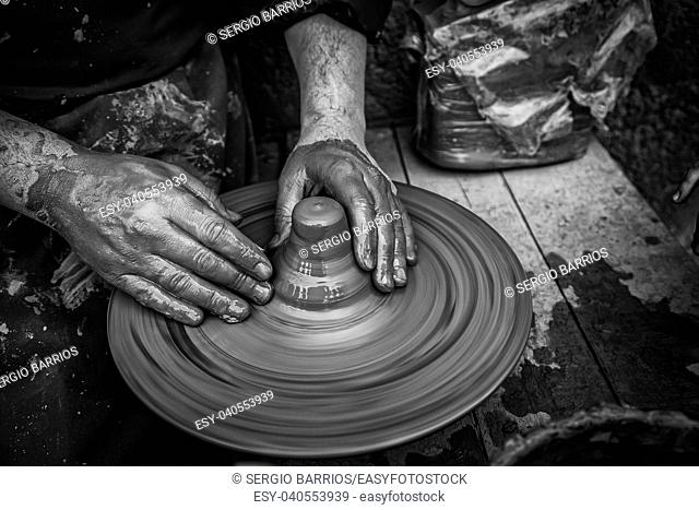 Traditional Potter, detail of manual work, arts and crafts. Spain