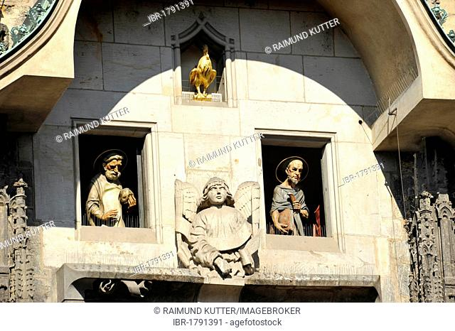 Statues of the Apostles, moving figures on the Prague Astronomical Clock on the clock tower of the Old Town City Hall, Old Town Square, historic district