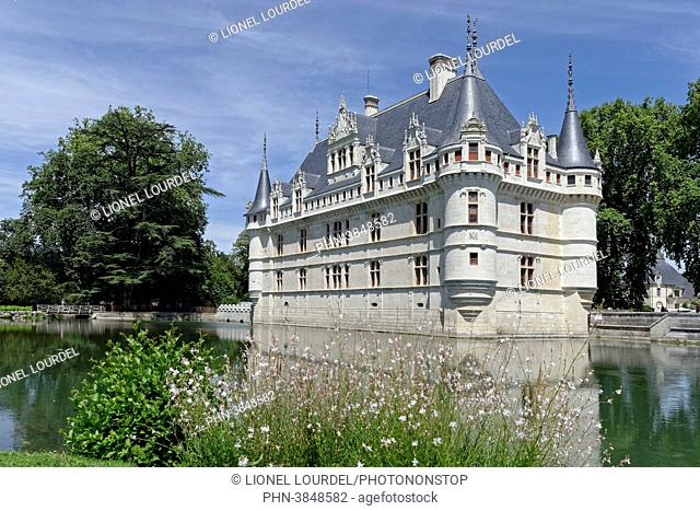 France, Centre, Indre et Loire, Loire Valley listed as World Heritage by UNESCO, Azay le Rideau, Azay le Rideau castle