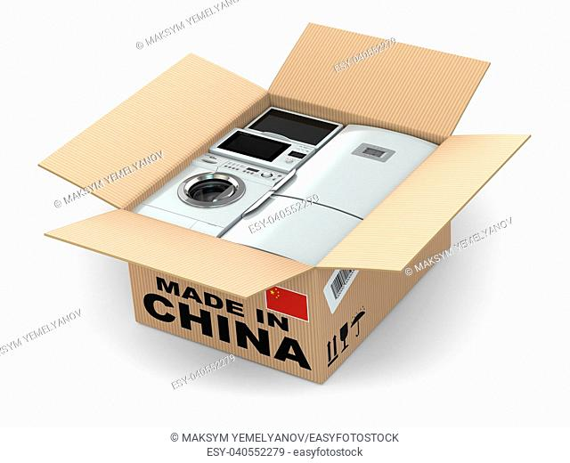 Home appliance in box. Made in China. 3d
