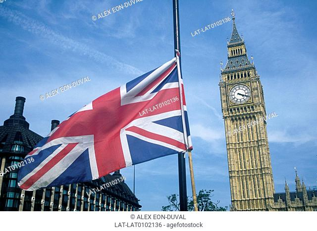 Westminster. Houses of Parliament. Big Ben clock tower. Union Jack British national flag