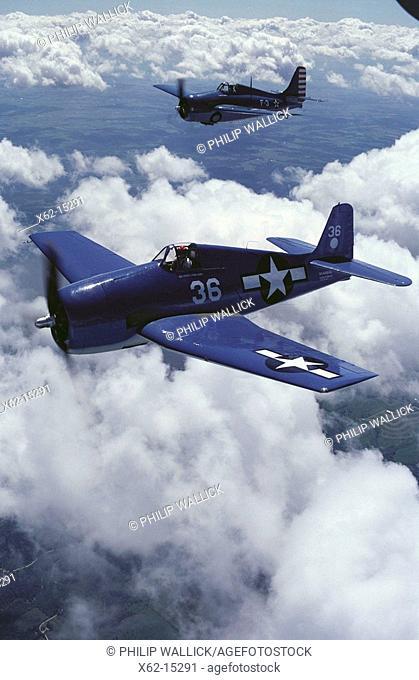 World War II US fighters: Grumman F6F-5 Hellcat (in foreground) and F4F Wildcat