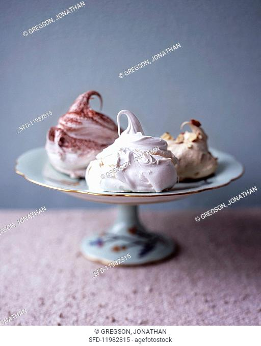 Assorted meringues on a cake stand