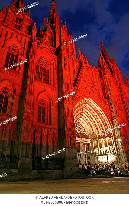 Night lighting of the Cathedral of Santa Eulalia, Barcelona, Catalonia, Spain