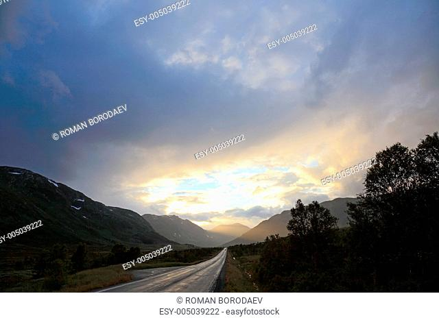 Road from Oslo to Bergen before sunset. Norway, scandinavian Eur