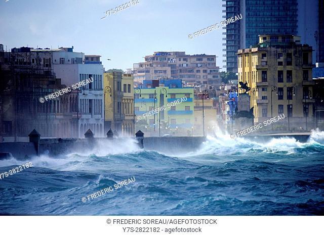 Waves crashing against Malecon, Havana, Cuba