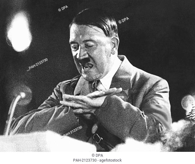 """'Rich in gesture, National Socialist leader (""""""""Führer"""""""") Adolf Hitler gives a speech during the Third Reich (1933-1945) (undated picture). - /Germany"""