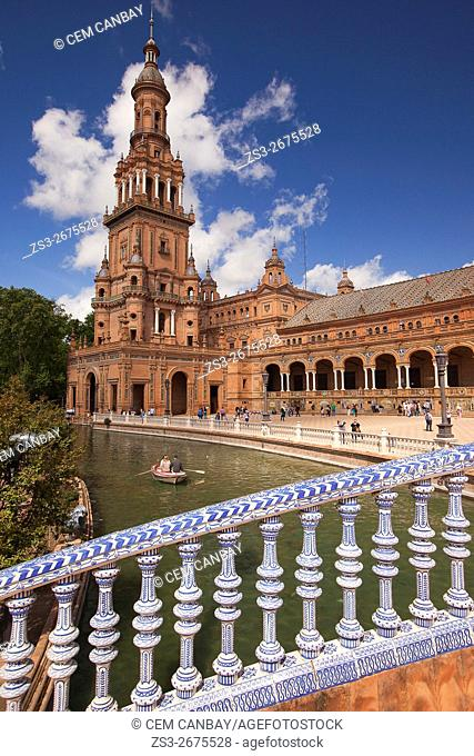 Scene from the Plaza de Espana during the April Fair celebrations, Seville, Andalusia, Spain, Europe
