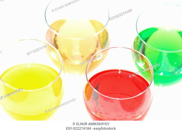 Three colour liquers isolated on white - deliberate highlights