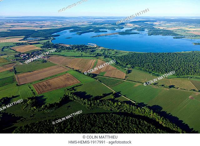 France, Meuse, regional Natural Park of Lorraine Village Nonsard, Lake Madine (aerial view)