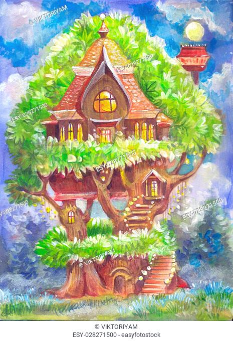 Children's illustration with a fantastic tree house. Fantasy picture painted by hand on canvas. Illustration for the book, background, poster, postcard