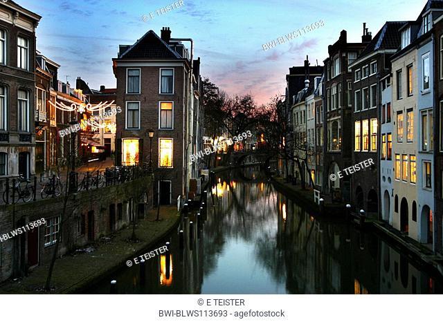 The Oude Canal at evening, Netherlands, Utrecht