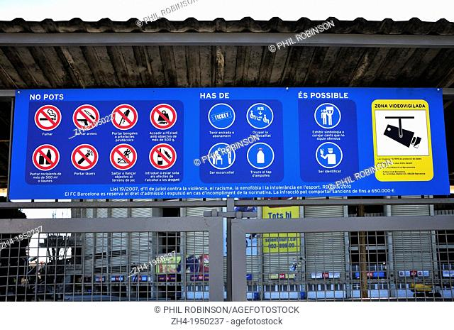 Barcelona, Catalonia, Spain. Sign at Camp Nou football staium listing regulations in the ground. Catalan language