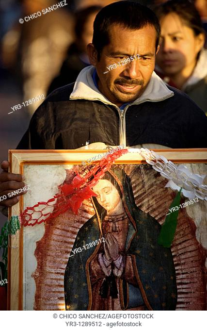 A pilgrim carries an image of the Our Lady of Guadalupe in Mexico City, December 11, 2010  Hundreds of thousands of Mexican pilgrims converged on the Our Lady...