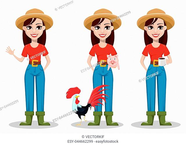 Female farmer cartoon character, set of three poses. Cheerful gardener woman rancher waving hand, standing with farm animals and holding cup of coffee