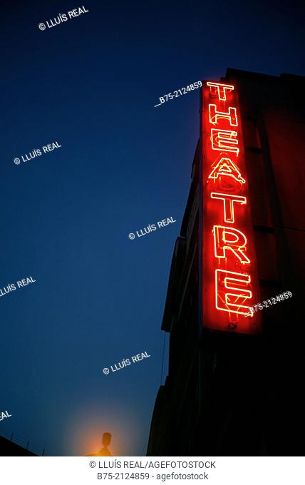 theatre sign in a facade at night in Soho, London, England, UK