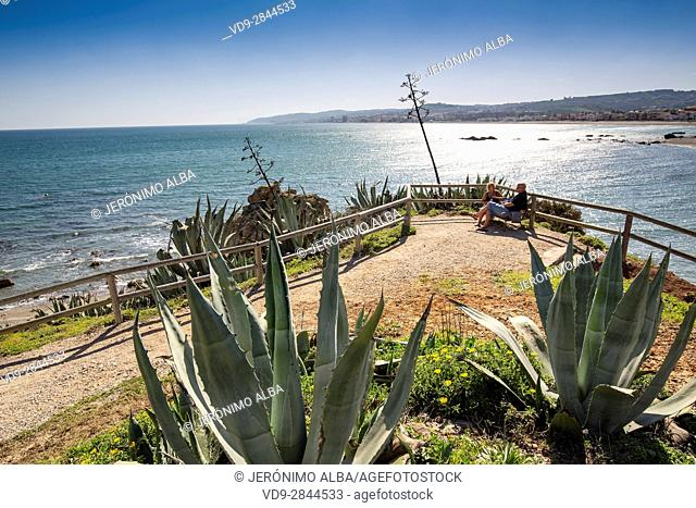 Beach. Playa Ancha, Casares. Malaga province Costa del Sol. Andalusia Southern Spain, Europe
