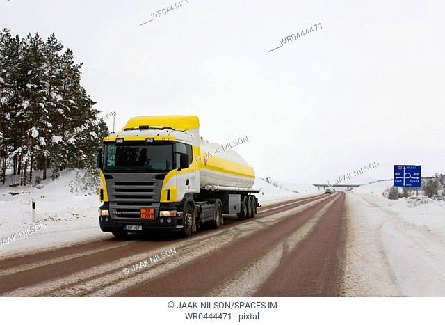 Yellow And White Fuel Tanker Truck