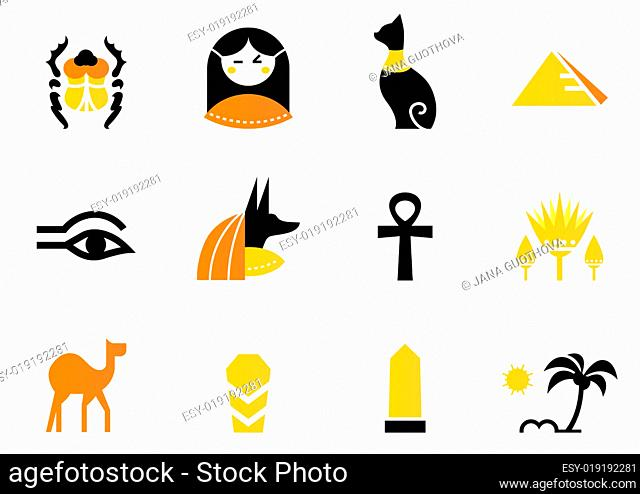 Egypt icons and design elements isolated on white ( back and ora